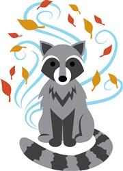 Swirling Fall Raccoon print art