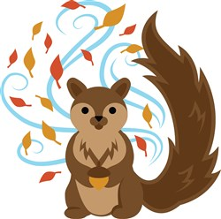 Swirling Fall Squirrel print art
