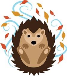 Swirling Fall Hedgehog print art