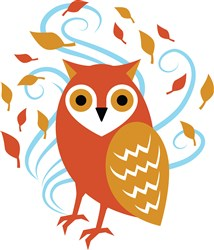 Swirling Fall Owl print art