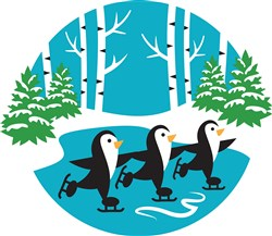 Winter Penguins Scene print art