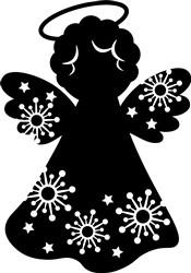 Angel & Snowflake Silhouette print art