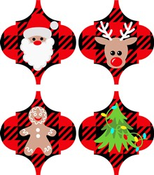 Buffalo Plaid Christmas Ornaments print art