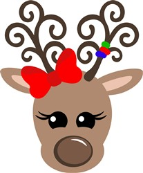 Kawaii Girl Reindeer print art