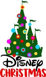 Disney Christmas Decorated Castle print art