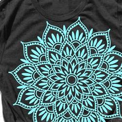 Teal Floral Mandala print art