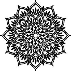 Outlined Floral Mandala print art