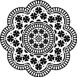 Scalloped Floral Mandala print art