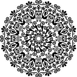 Floral & Owl Mandala print art