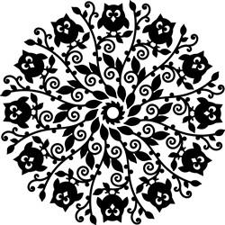 Owl  & Flower Mandala Silhouette print art