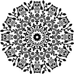 Owl & Floral Mandala print art