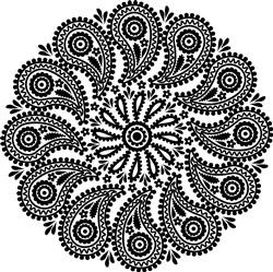 Paisley Outline Mandala print art