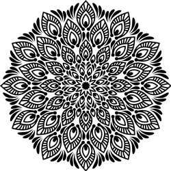 Feathered Outline Mandala print art