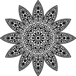 Sunflower Mandala Outline print art