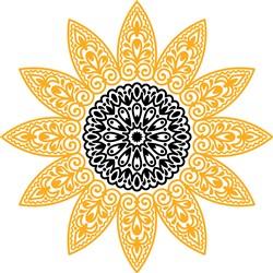 Swirling Sunflower Mandala print art