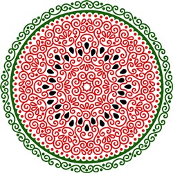 Swirly Watermelon Slice Outline print art