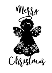 Merry Christmas Angel print art