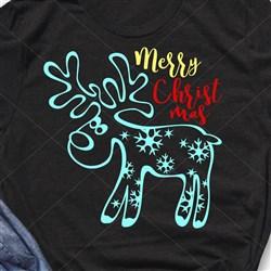 Merry Christmas Reindeer Outline print art