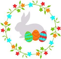 Easter Rabbit Wreath print art