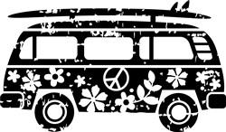 Grunge Surfer Van print art