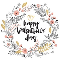 Happy Valentines Day Wreath print art