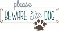 Cute Dog Beware print art