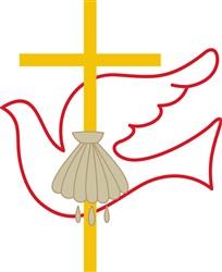 Baptism Cross & Dove print art