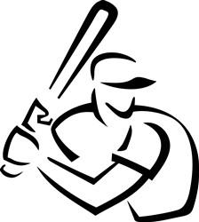 Baseball Batter Outline print art