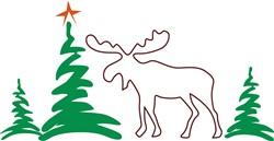 Christmas Moose Outline print art