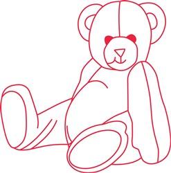 Teddy Bear Redwork print art