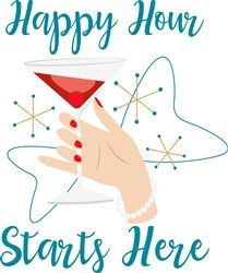 Happy Hour Starts Here print art