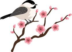 Chickadee & Cherry Blossoms print art