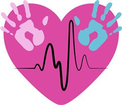 Handprints & Heartbeat print art