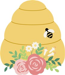 Floral Bee Hive print art