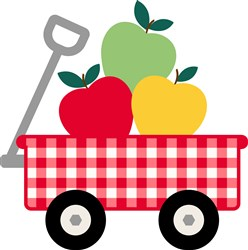 Gingham Fruit Wagon Applique print art