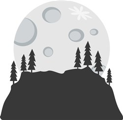 Full Moon Mountain Silhouette print art
