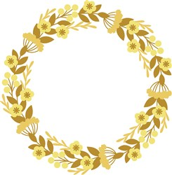 Golden Floral Wreath print art