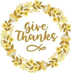 Give Thanks Wreath print art