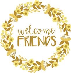 Welcome Friends Wreath print art