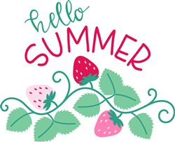 Hello Summer Strawberry Border print art