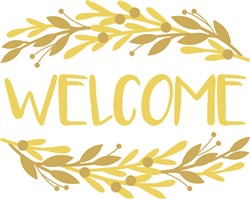Golden Branches Frame Welcome print art