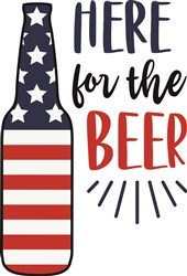 Here For The Beer Applique print art