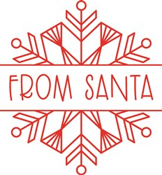 Christmas Redwork Snowflake Name Split From Santa Gift Tag print art