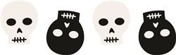 Halloween Skeleton Skulls Border print art