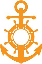 Ship Wheel Anchor print art