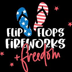 Flip Flops Fireworks Freedom print art