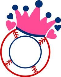 Baseball Princess Monogram Frame print art