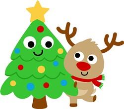 Kawaii Christmas Tree & Reindeer print art
