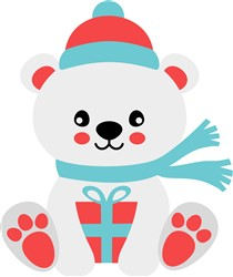 Kawaii Christmas Polar Bear print art