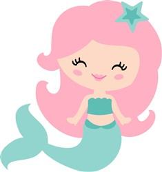 Pink Haired Mermaid print art